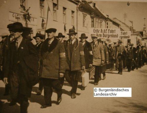 Arbeiter auf Propagandafahrt